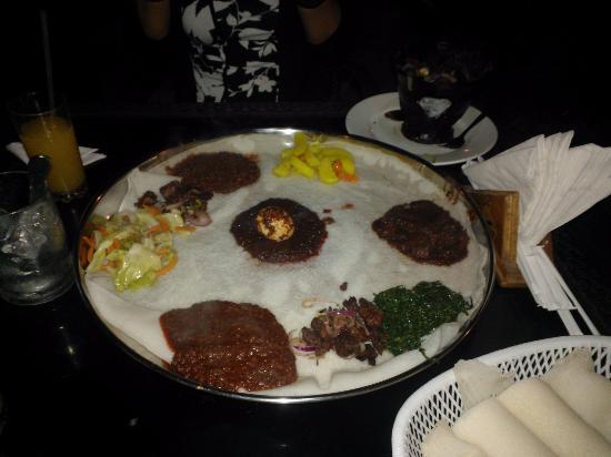 Habesha: Doro Wot, Key Minchet & Misir Wot (yellow Lentils served on Injera