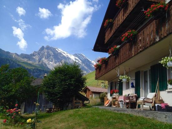 Eiger Guesthouse: View during our trek down to Gimmelwald.