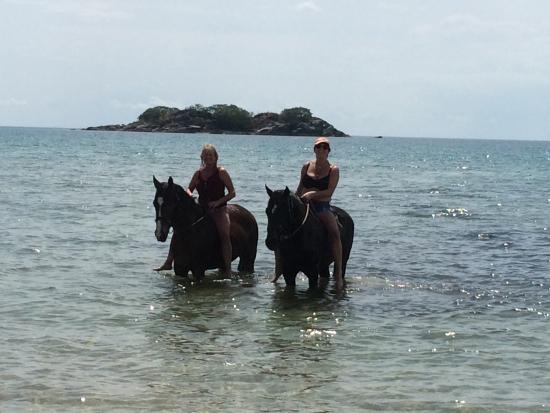 Nkhata Bay, Malawi: Emerging from our swim!