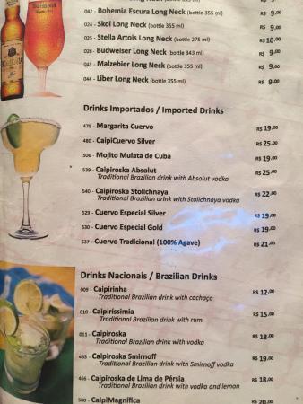 Garota de Ipanema: Drink menu