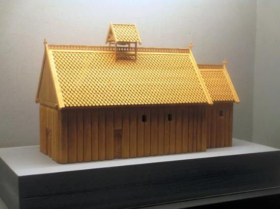 Lund, Suecia: A model of the largest stave church that has been found in the Nordic countries