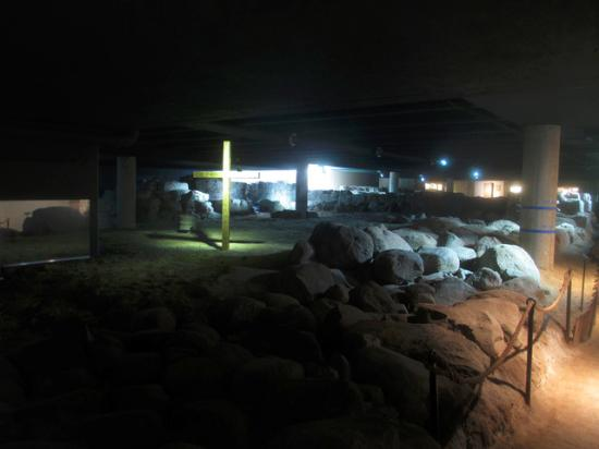 Lund, Sverige: The underground museum that whows the ruin of the stone church Drotten