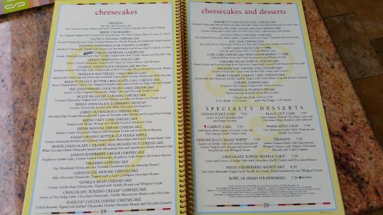 Menu - Picture of The Cheesecake Factory, Orlando ...