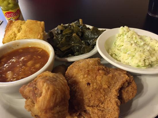 Eatz: Fried chicken, collard greens, corn bread, coleslaw and beans