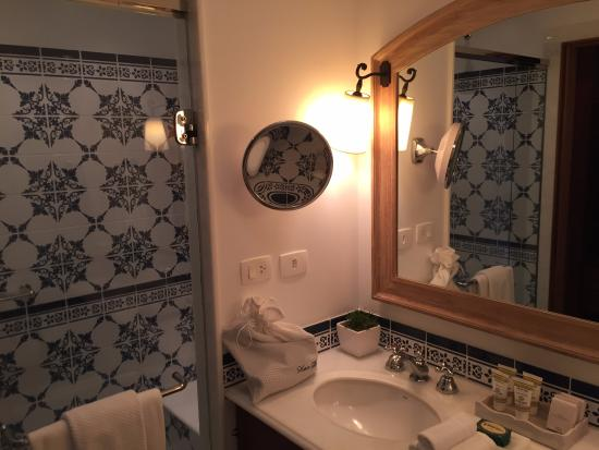 walk-in shower and double sinks