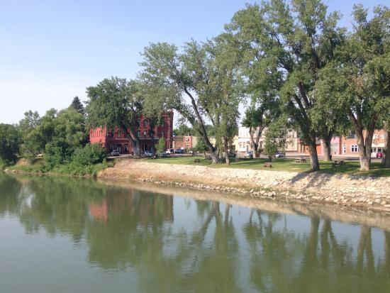 Fort Benton, MT: Grand Union Hotel from Bridge