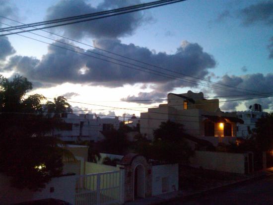 sunset from balcony walkway 2nd floor hotel eden puerto morelos