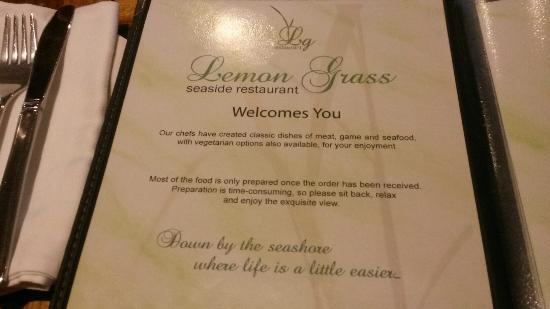 The Lemon Grass : Jídelníček