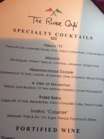 The River Cafe: Pricey drink menu but so worth it! Get the delicious Mezarita!