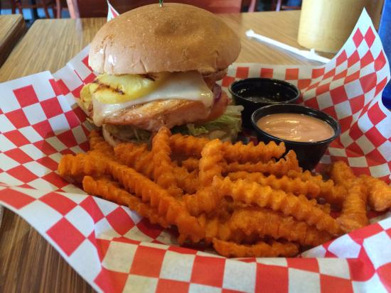 Island chicken sandwich and sweet potato fries - Picture ...