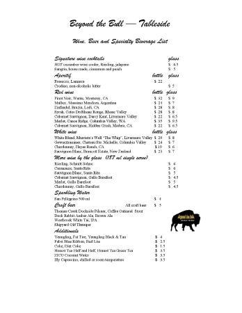 Seneca, Güney Carolina: Beverage Menu