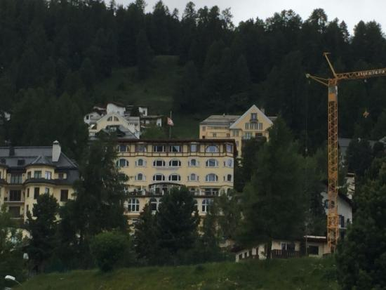 Soldanella: View of Hotel from Lake St Moritz