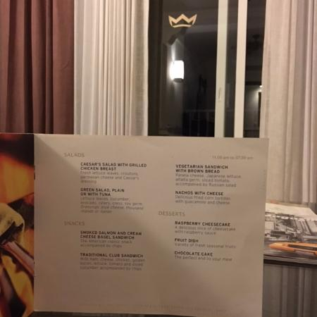 Riu Palace Aruba Room Service Menu