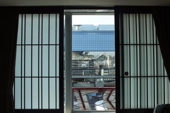 Kyoto Tower Hotel: From the hotel - reflection in the train station.