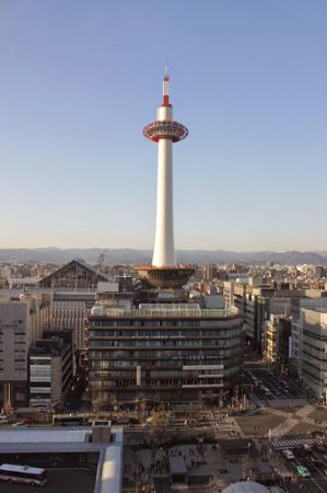 Kyoto Tower Hotel: A view at the hotel and the city from the train station roof