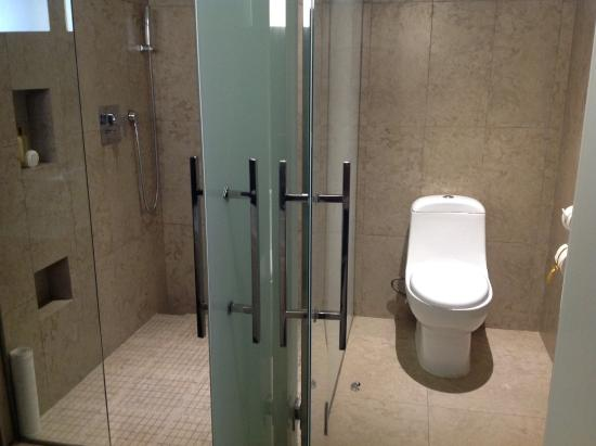 Shower stool separated by non see through glass for Non see through glass for bathrooms
