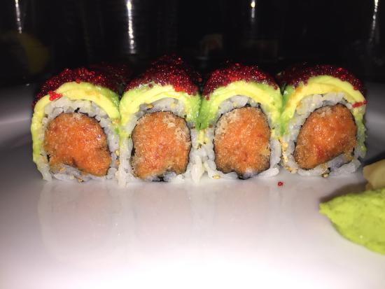 Aikou: Spicy Tuna with Avocado and Egg things on top