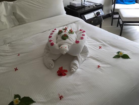 Hilton Mauritius Resort & Spa: Our room maid, Babita, thrilled us with her towel folding skills, turning them into animals in a