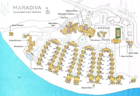 Maradiva Villas Resort and Spa: Resort Map