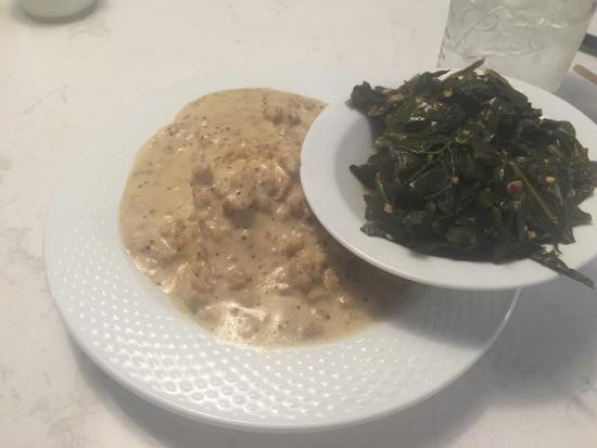 Montpelier, VT: Biscuit and sausage gravy, collard greens