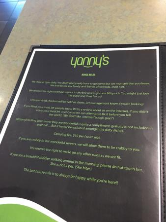 Yanny's: House rules!