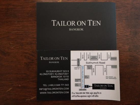 Business card picture of tailor on ten bangkok tripadvisor tailor on ten business card reheart Images
