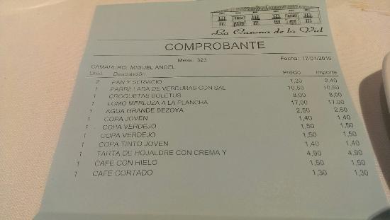 La Vid, สเปน: La cuenta para dos personas
