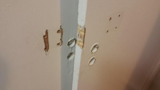 Holes In Cabinet Doors With Missing Paint Picture Of Gouldings