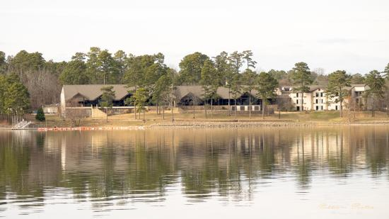 Bismarck, AR: View of the lodge at Degray Lake Resort State Park from the water