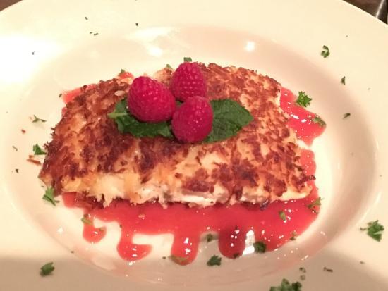 Rhinelander, WI: Coconut encrusted salmon w/ raspberry sauce