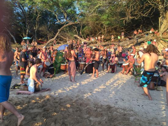 Sunday evening drum circle at Little Beach (rated G)
