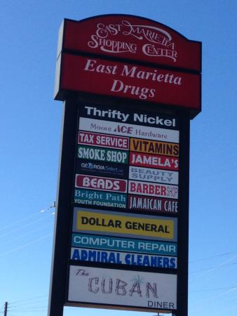 Marietta, GA: Shopping Mall Sign on Roswell Rd with Cuban Diner at bottom