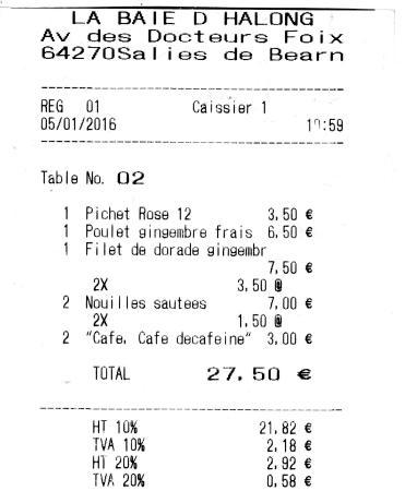 Salies-de-Bearn, Fransa: Notre addition du 5 janvier