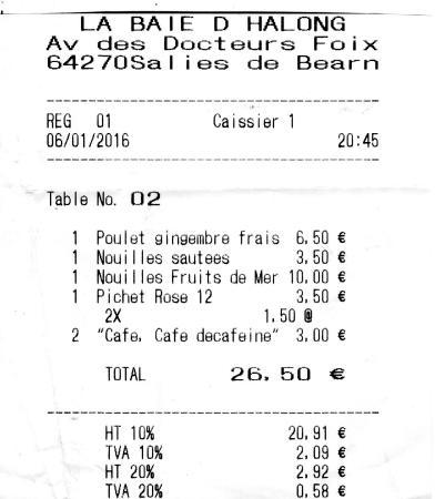 Salies-de-Bearn, Francja: Notre addition du 6 janvier