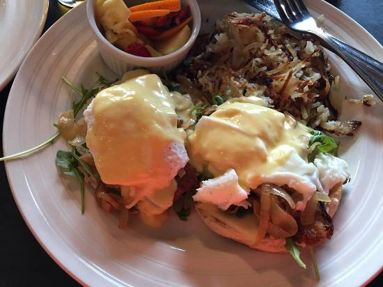 Beverly Shores, IN: Pork belly eggs benedict