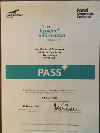 Certificate Of Food Hygiene Pass 2016 From Local Authority