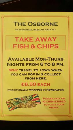 The Osborne: Take away Fish & Chips available, please see below for details or call on 01369 830820.