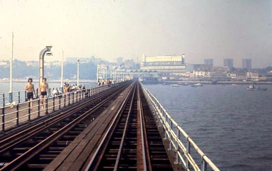 Southend Pier: From the cab of an electric train. 1974.