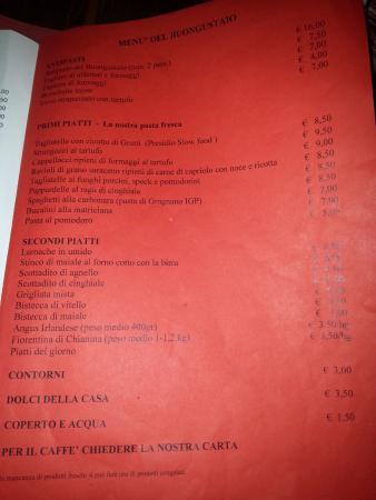 San Terenziano, Италия: Il menu