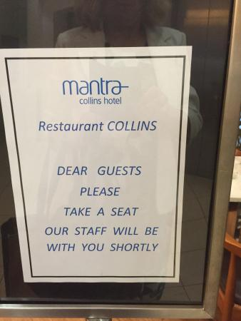 Mantra Collins Hotel: Restaurant Collins on ground floor
