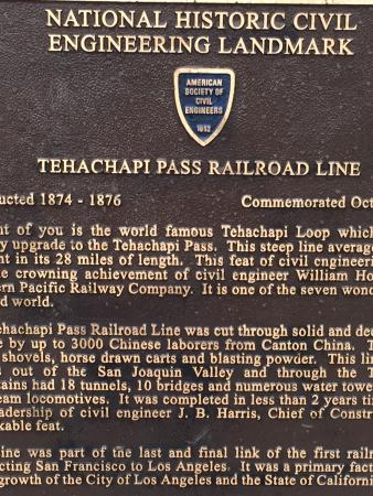 Tehachapi Loop: Name plate honoring the loop