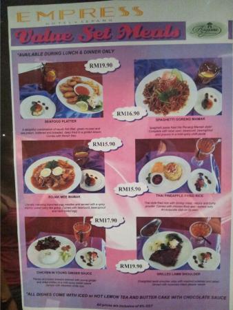 Empress Hotel Sepang: Reasonabky priced set meals
