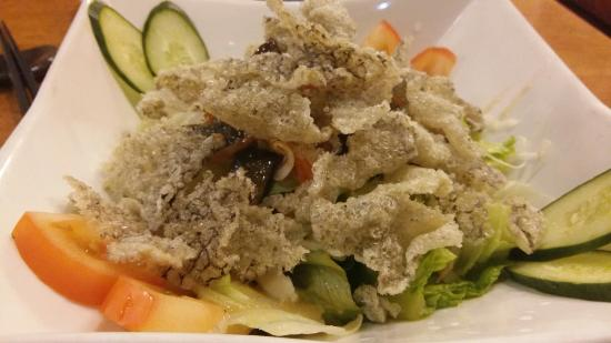 salmon skin salad picture of kampachi japanese