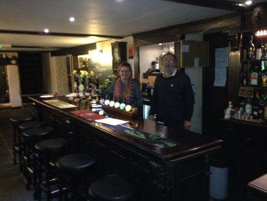 The Holman Clavel Inn: The bar with barmaid and new owner Steve