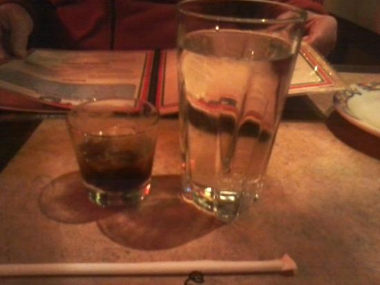 Willy and Jose's Cantina: Black russian served in a shot glass?