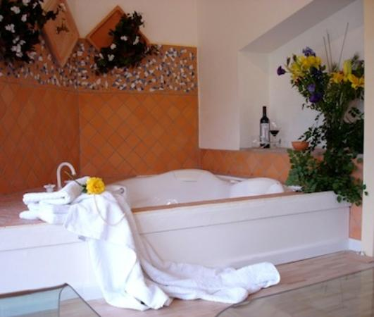 The Blue Grape Vineyard Accommodation: The spa bath in the Suite