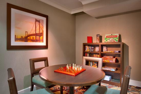 Peoria, IL: Use a board game or borrow a book in this quiet area of our lobby