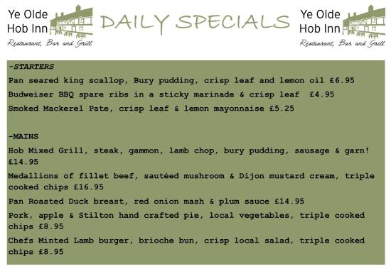 Bamber Bridge, UK: This weeks specials