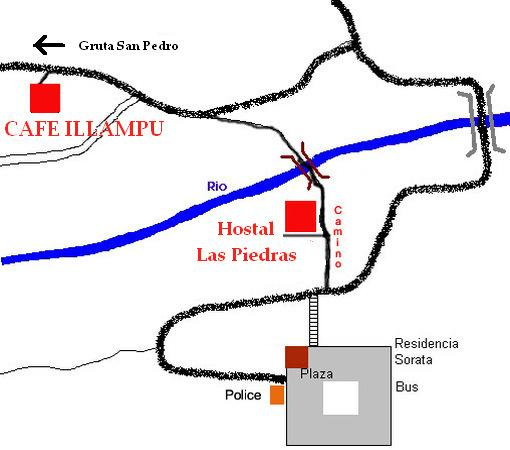 Sorata, Boliwia: Route to Hostal Las Piedras and Cafe Illampu