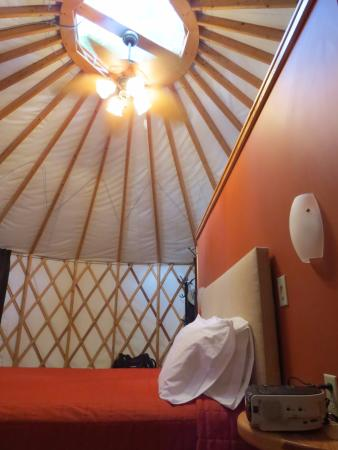 Cumberland, OH: Interior of a yurt on Nomad Ridge.
